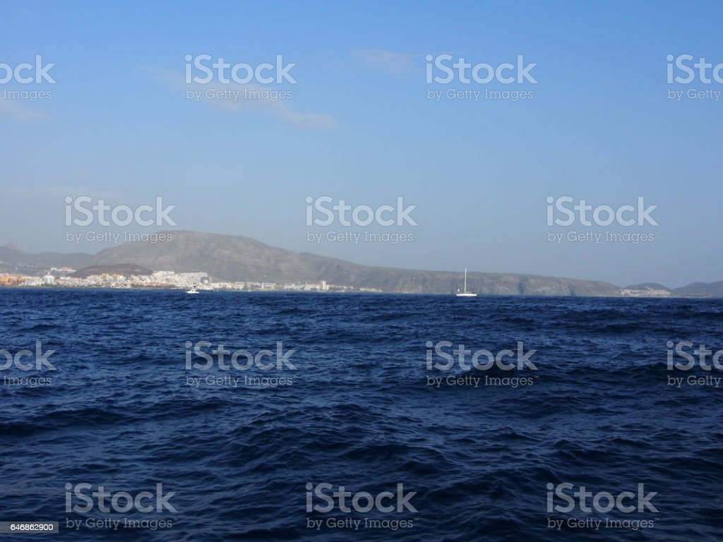 Beach in Tenerife, seen from a boat, Canary Islands, Spain stock photo