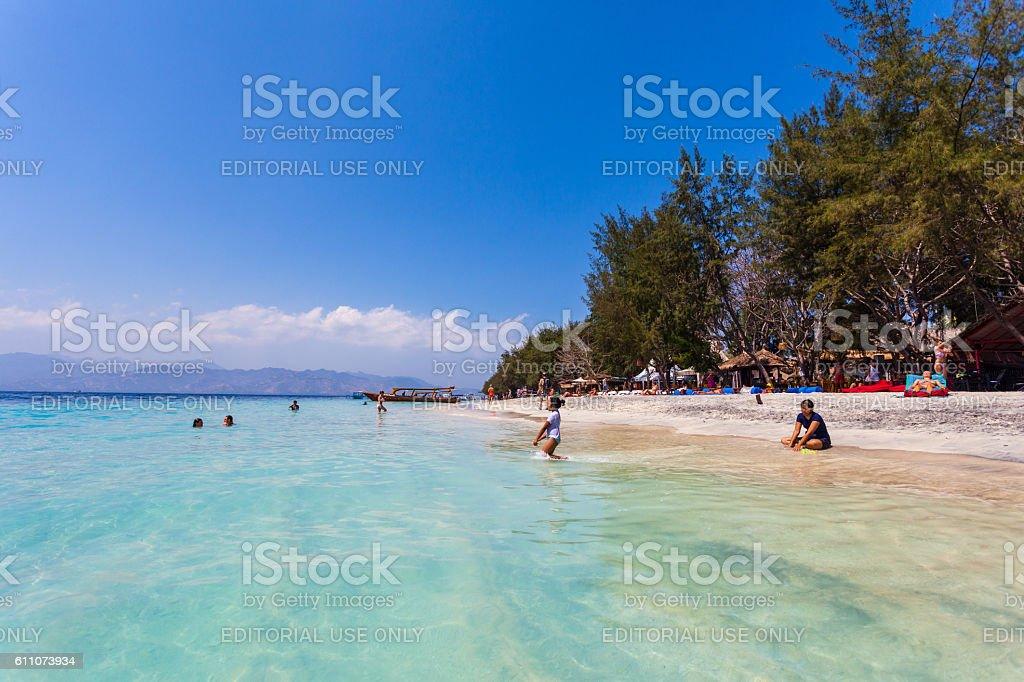 Beach in the Gili Islands in Lombok, Indonesia stock photo