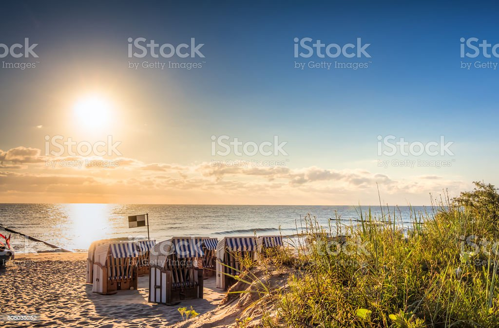 Strand am Morgen stock photo