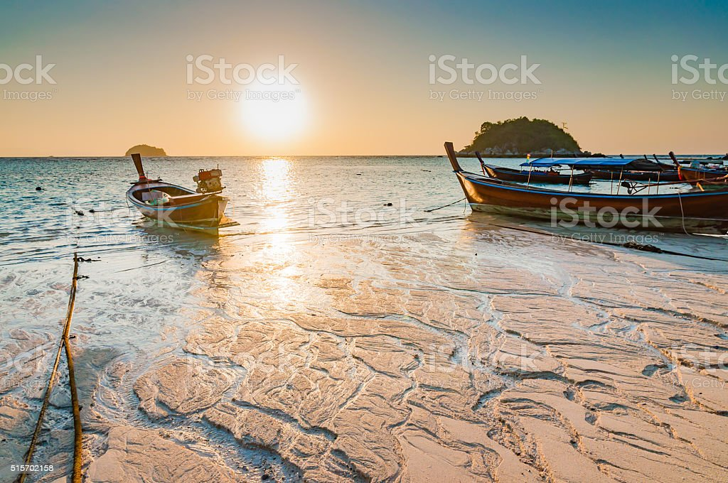 Beach in the morning sunrise with beautiful texture stock photo