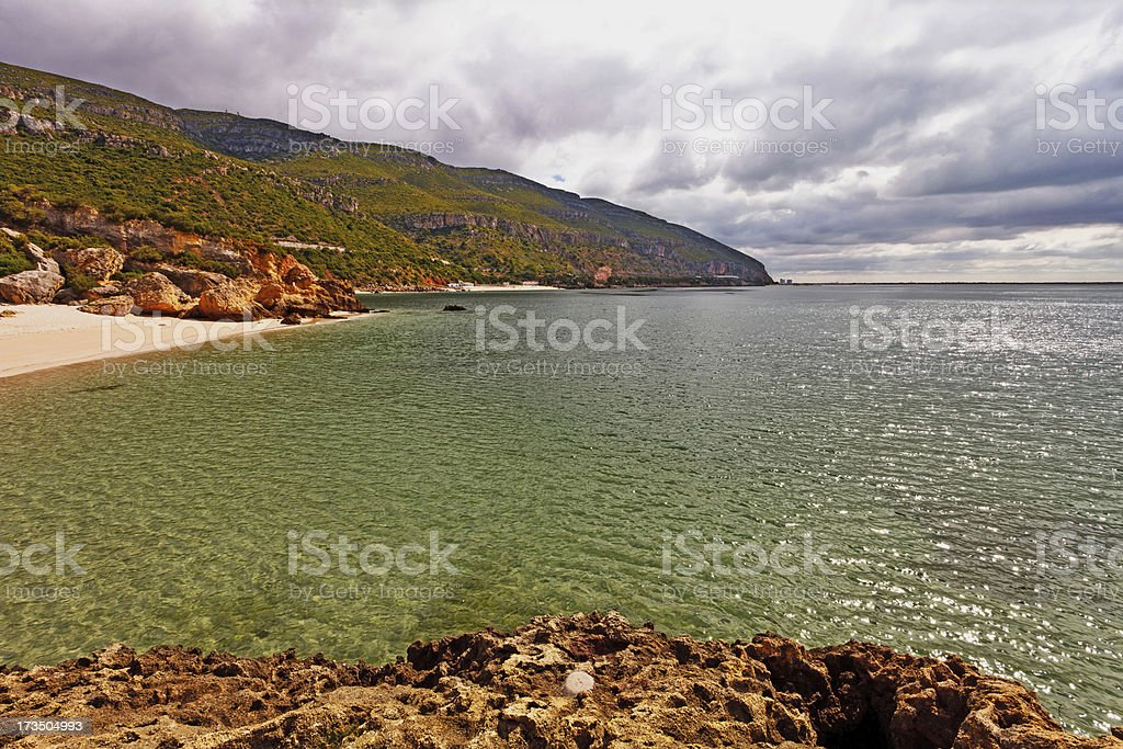 Beach in the National Park of Arr?bida. stock photo