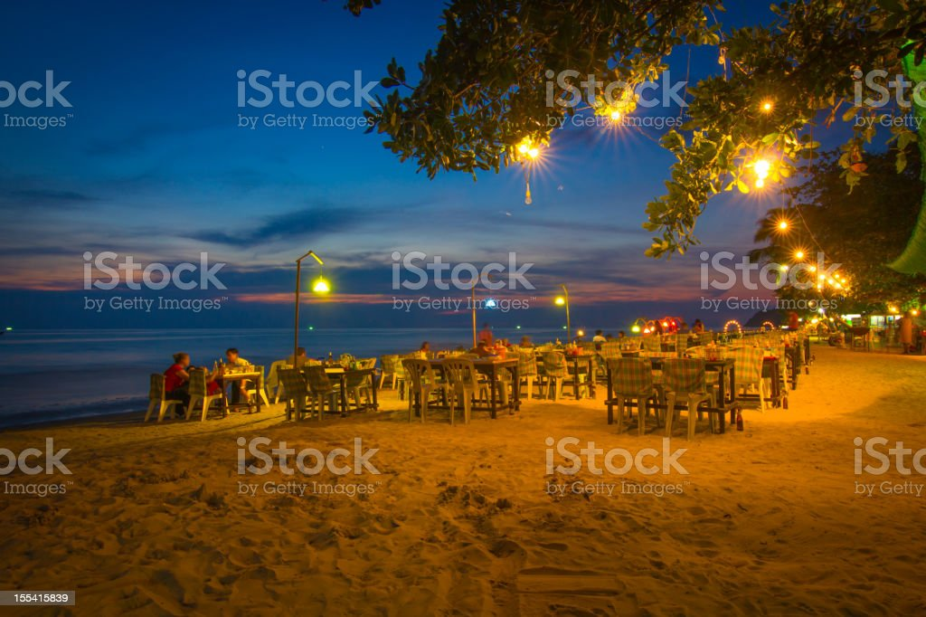 Beach in the night stock photo