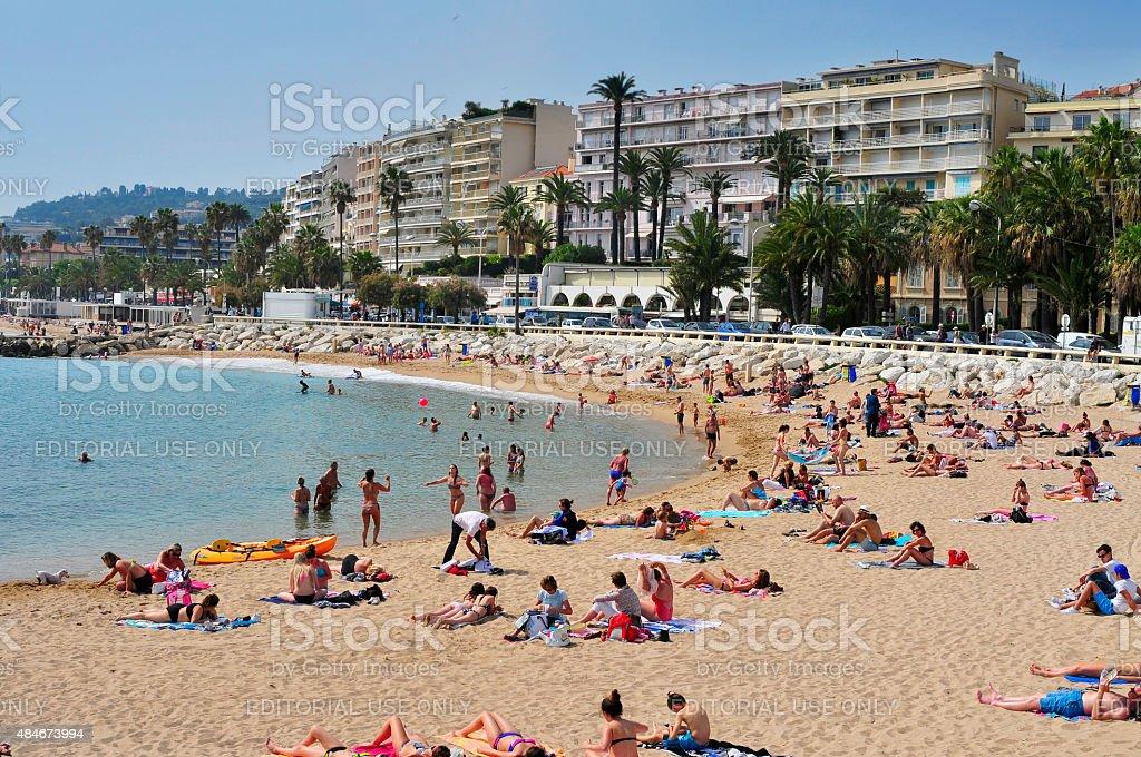 beach in the Promenade de la Croisette in Cannes, France stock photo