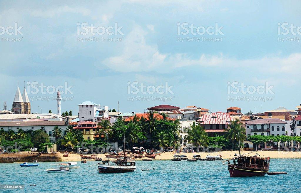 Beach in the stone town on the island of Zanzibar stock photo