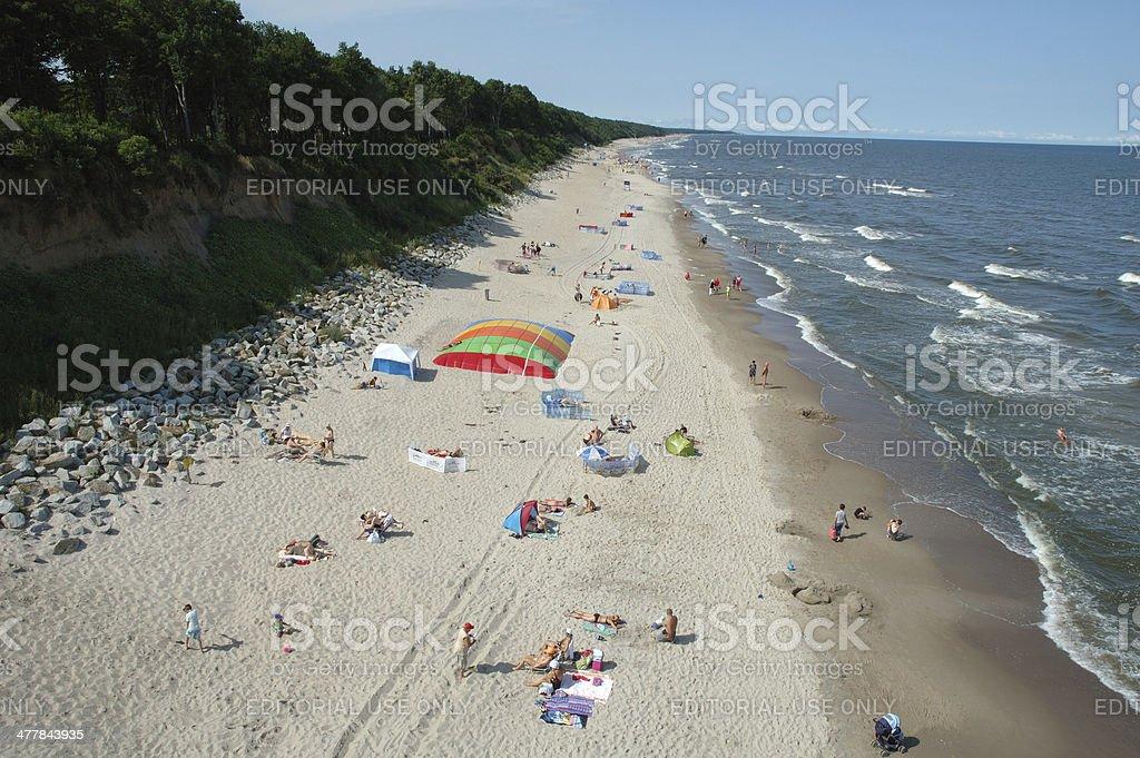 Beach in Trzesacz Poland stock photo