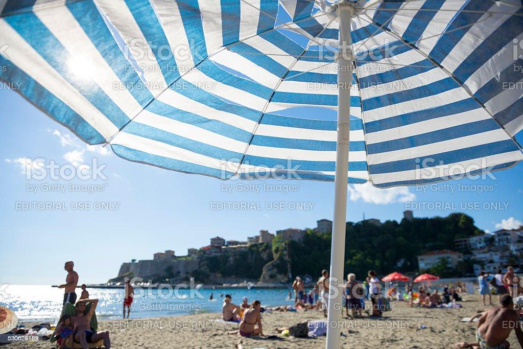Beach in Ulcinj, Montenegro stock photo
