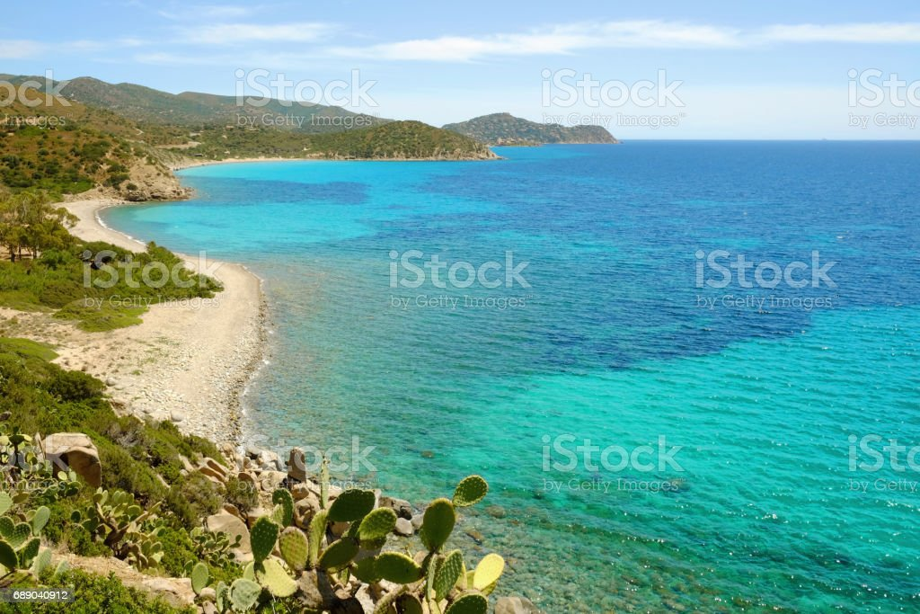 Beach Is Canaleddus in Sardinia, Italy. stock photo