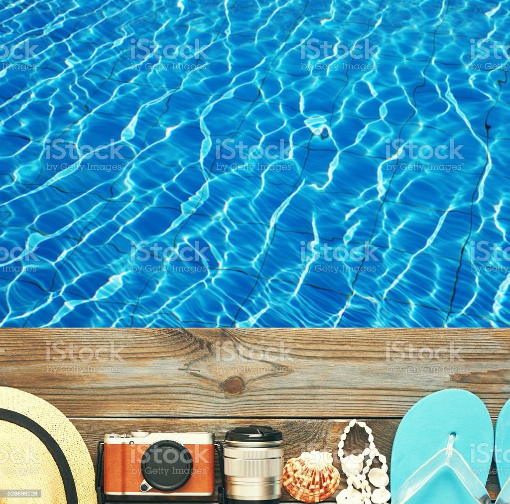 Beach items at pool stock photo