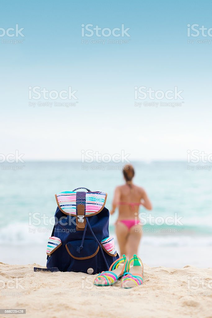 Beach items on the coast of the Andaman Sea. stock photo