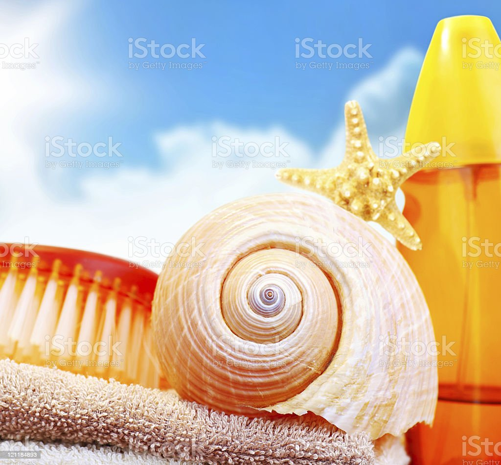 Beach items over blue sky royalty-free stock photo