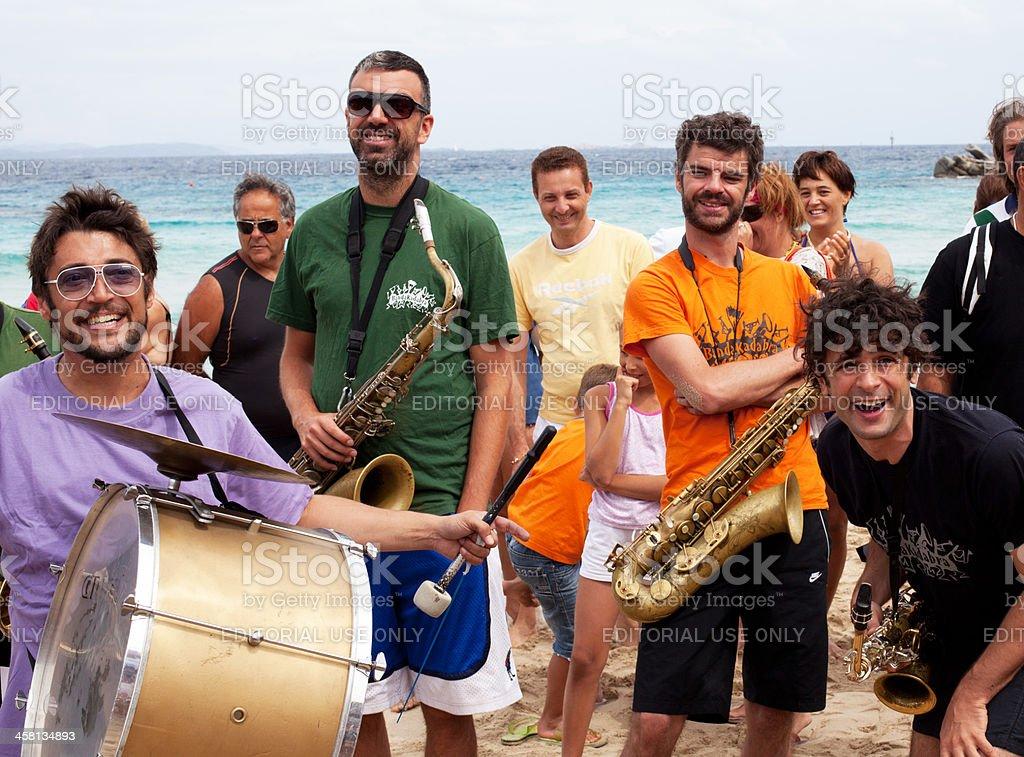 Beach Jazz Music and Smiling stock photo