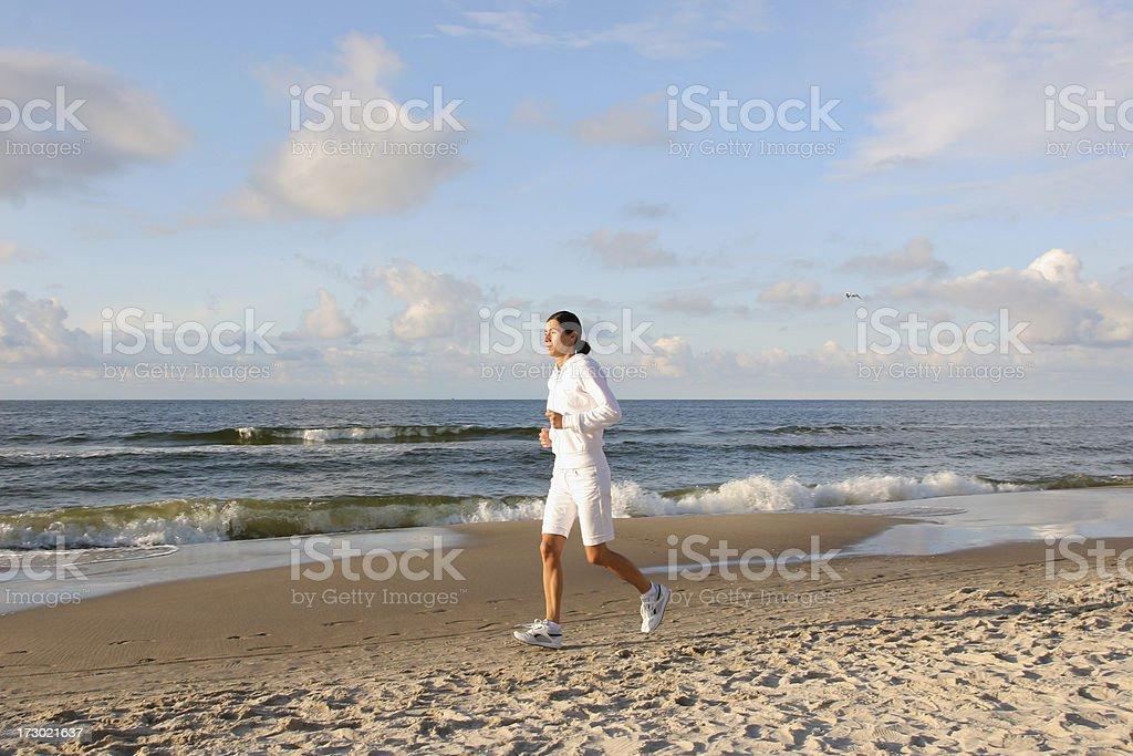 Beach jogging royalty-free stock photo