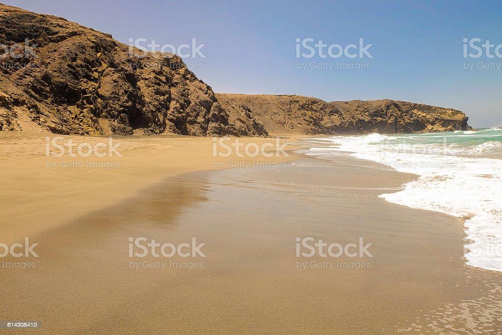 Beach La Pared on Fuerteventura, Spain. stock photo