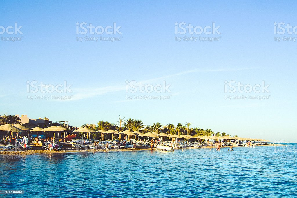 Beach landscape with the sea, palm trees and sunshades stock photo