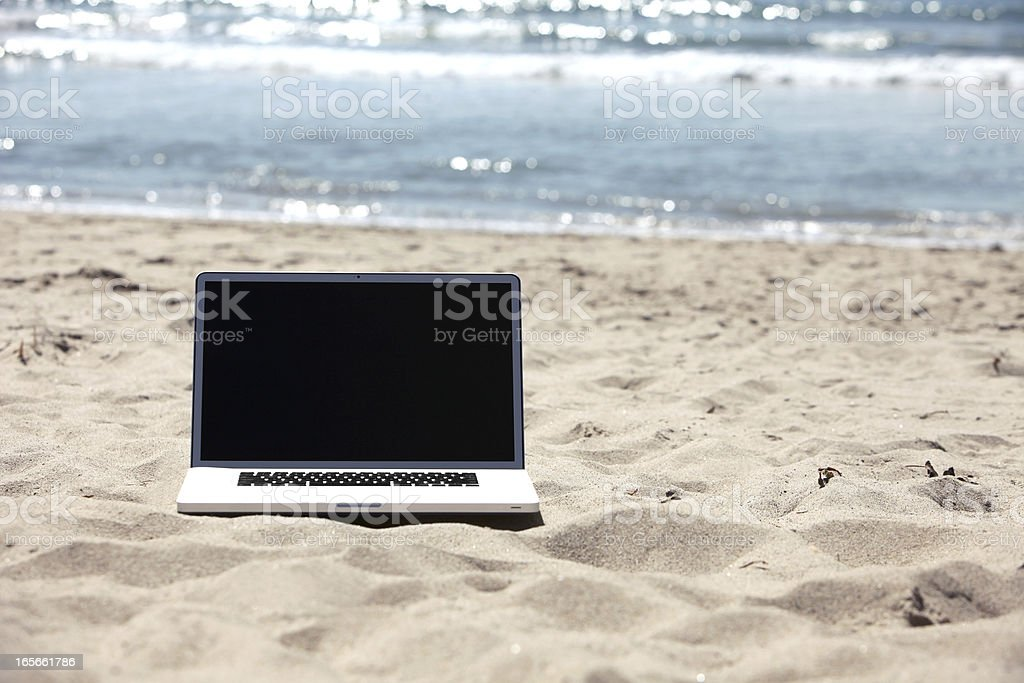 Beach Laptop royalty-free stock photo