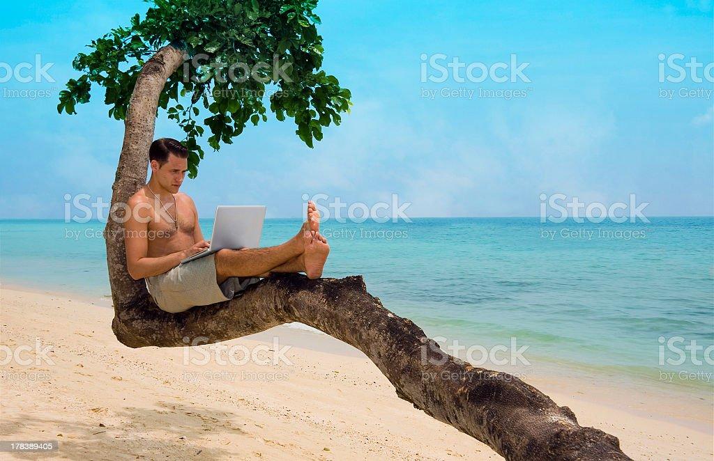 Beach laptop vacation royalty-free stock photo