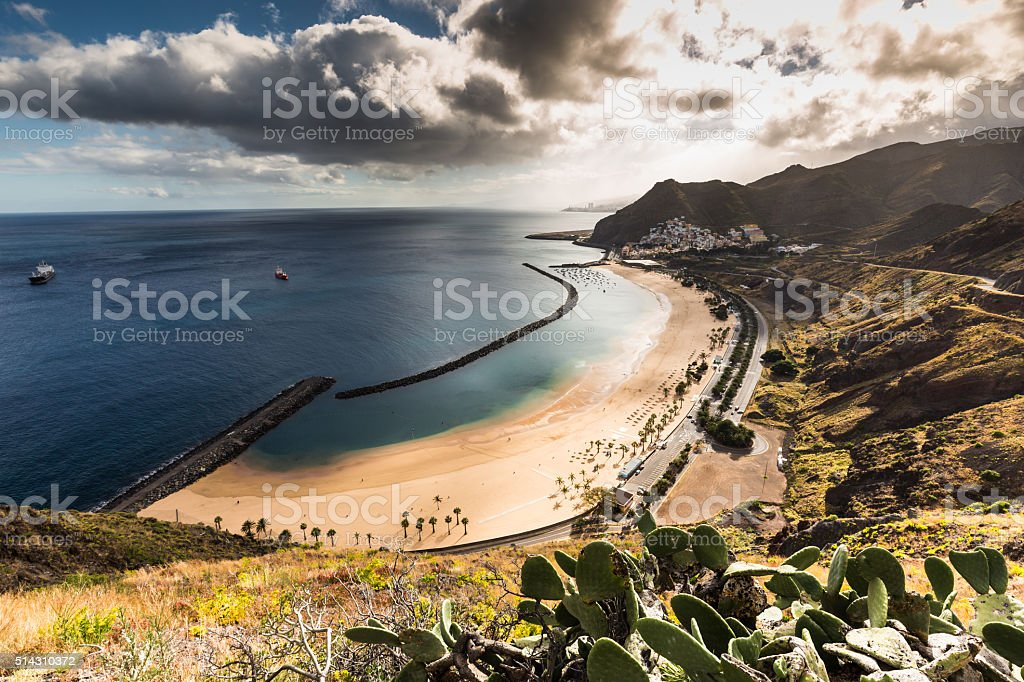 Beach Las Teresitas in Santa cruz de Tenerife stock photo