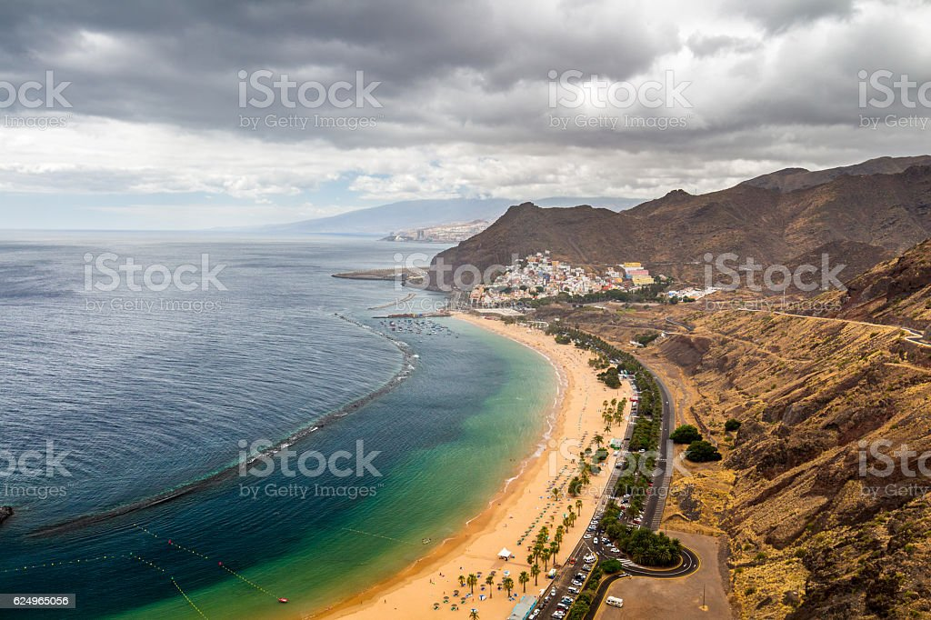 Beach Las Teresitas with water and waves on yellow sand stock photo