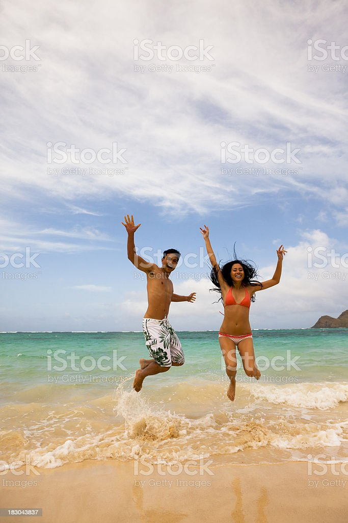 Beach Leap royalty-free stock photo