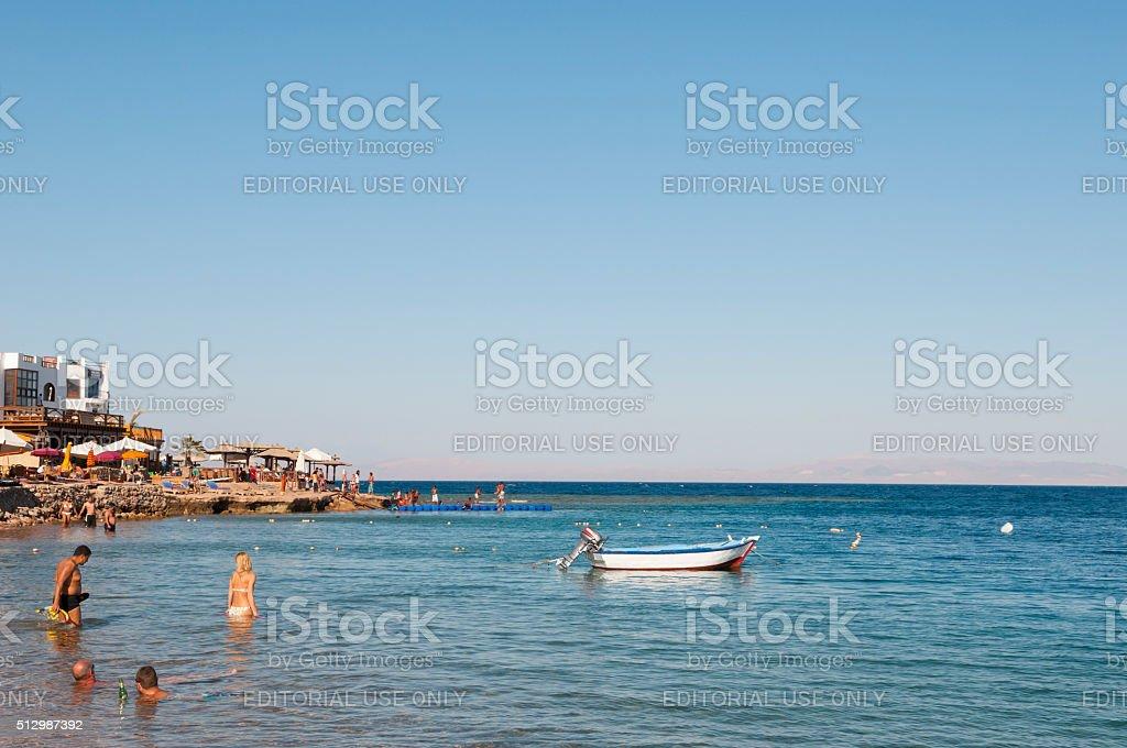 beach life in Dahab, Sinai, Egypt stock photo