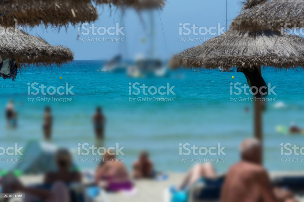 Beach life picture with desired blur. Focus View of the sea. stock photo