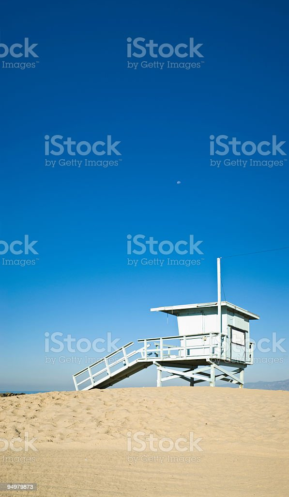 Beach lifeguard blue moon stock photo
