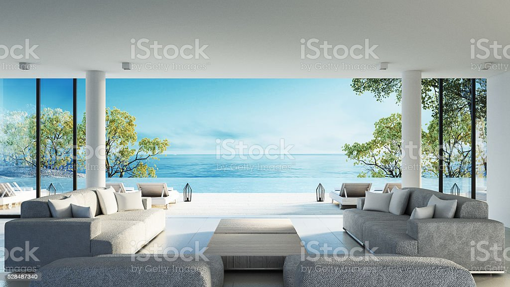 Beach living on Sea view stock photo