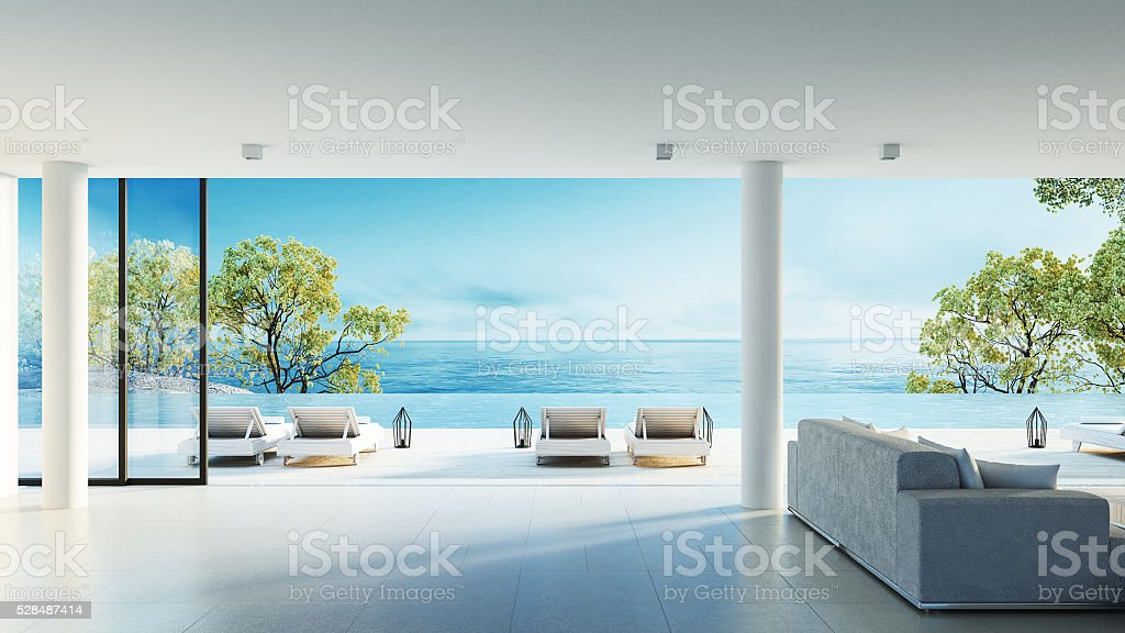 Beach living on Sea view stock photo