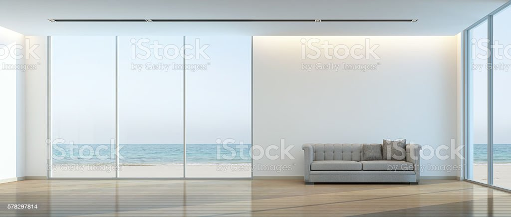 Beach living room stock photo