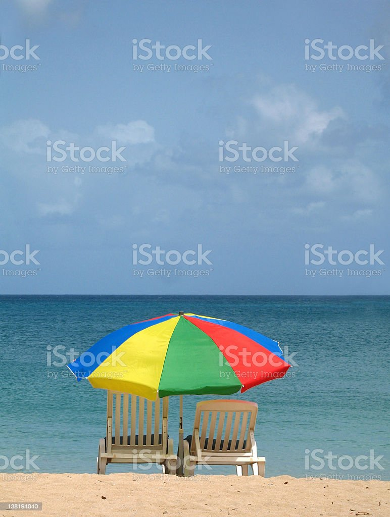 beach loung chairs and umbrella royalty-free stock photo