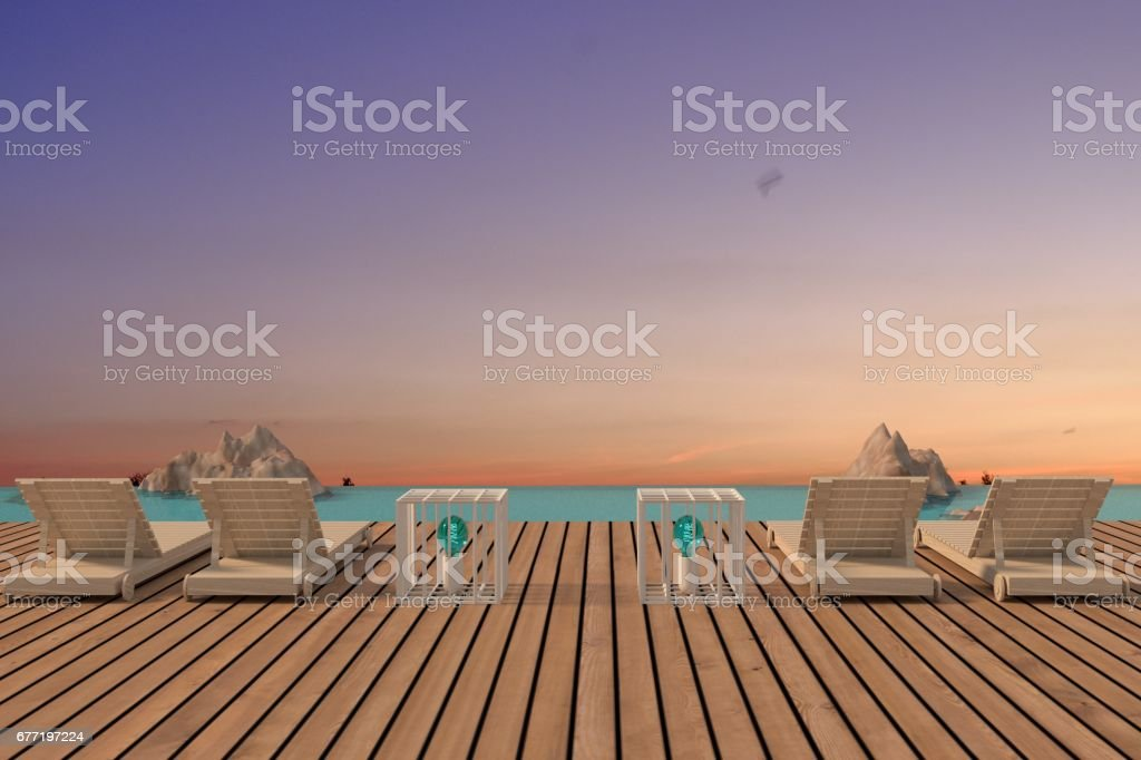 beach lounge seaview with wood floor design in 3D rendering stock photo