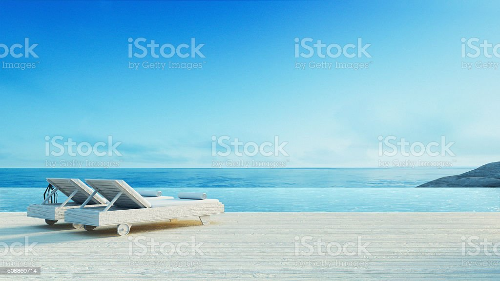 Beach lounge - Sundeck on Sea view stock photo