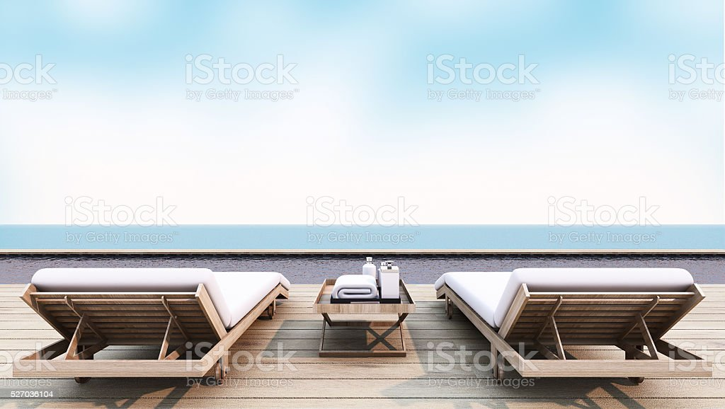 Beach lounge take view sea summer - 3d render stock photo