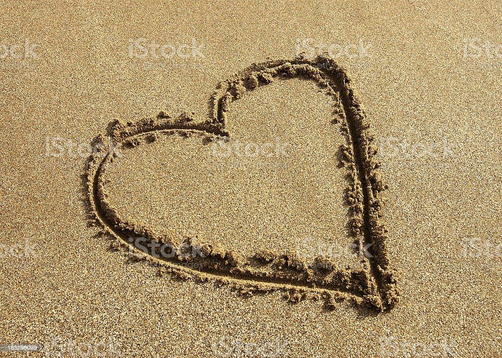Beach Love Heart royalty-free stock photo