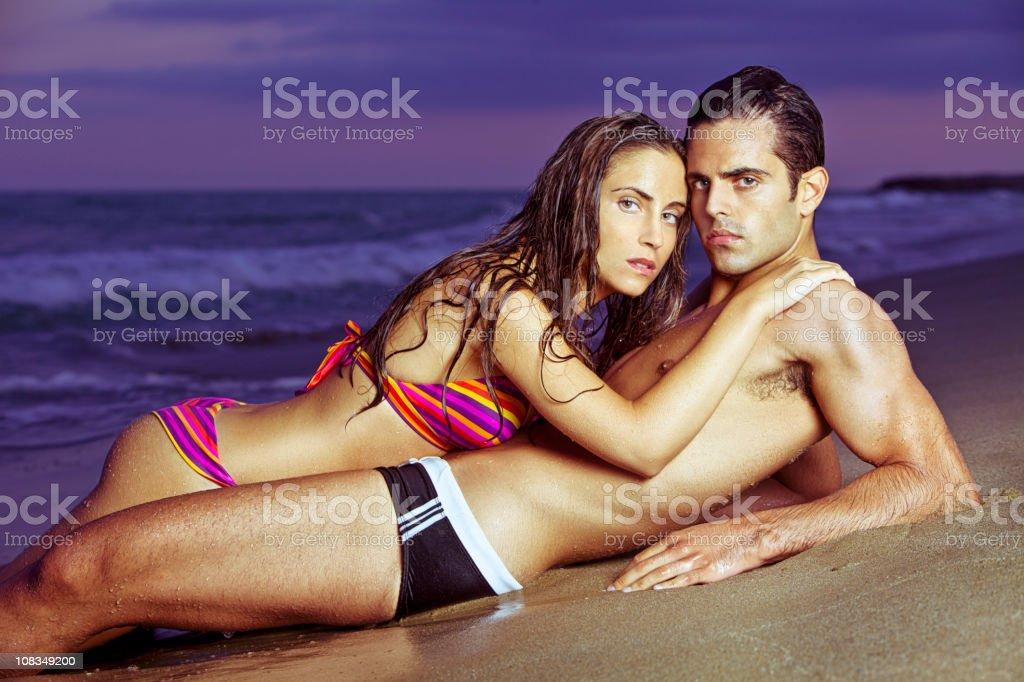 Beach lovers royalty-free stock photo