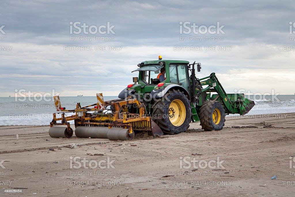 Beach maintenance autumn mediterranean sea stock photo