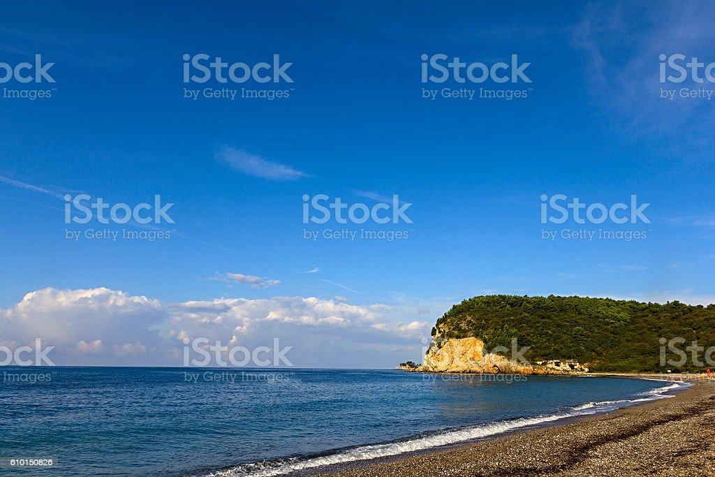 Beach Montenegro Buljarica stock photo