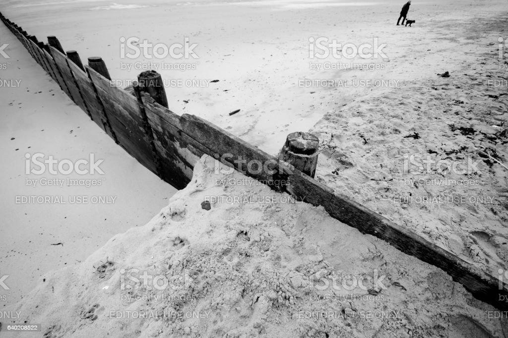 Beach near St Mary's lighthouse stock photo