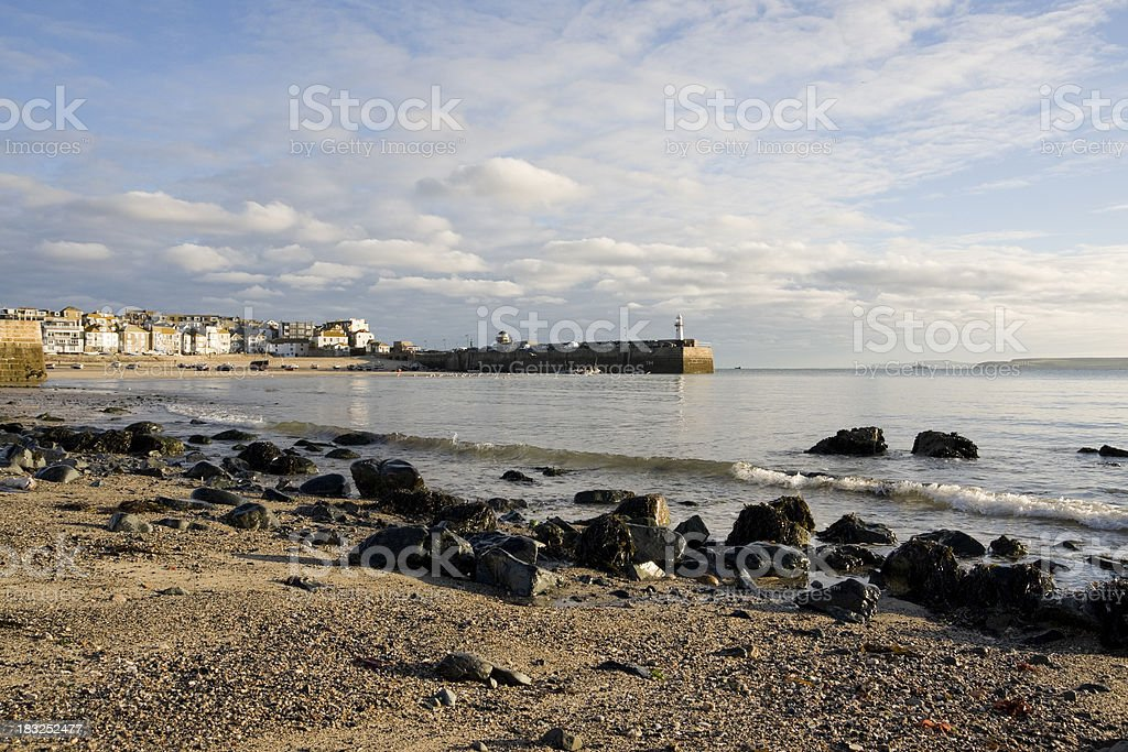 Beach next to St Ives town harbour in Cornwall stock photo