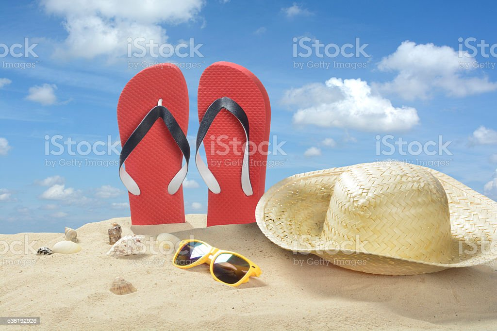 Beach objects stock photo
