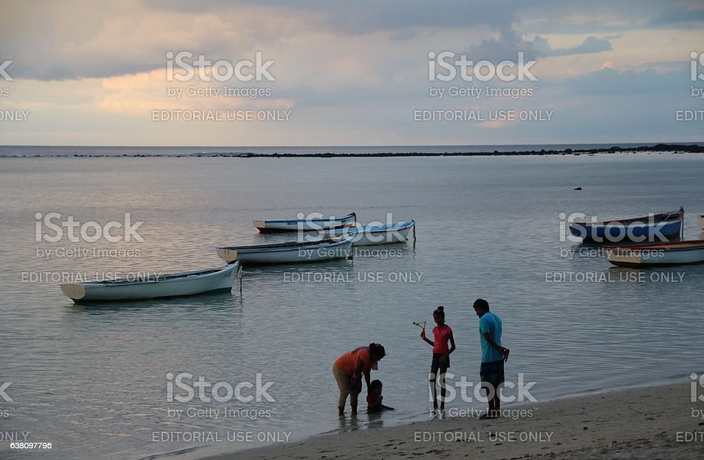 Beach of Albion, Cloudscape, Afternoon, Mauritius, Indian Ocean, Africa stock photo