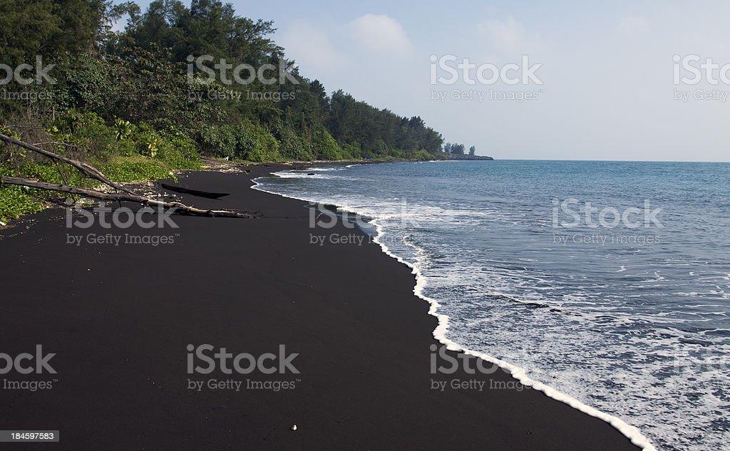 Beach of Anak Krakatau Volcano, Indonesia stock photo