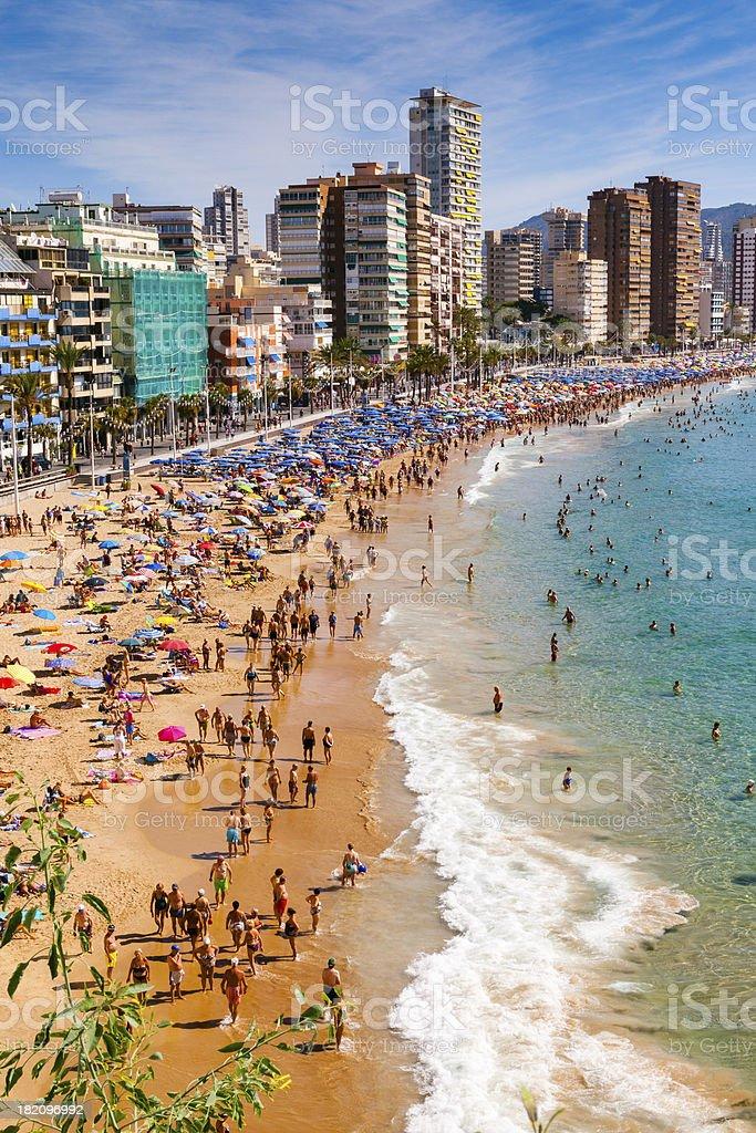 Beach of Benidorm, mediterranean seashore stock photo