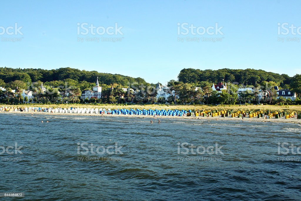 Beach of Binz at the isle of Ruegen stock photo
