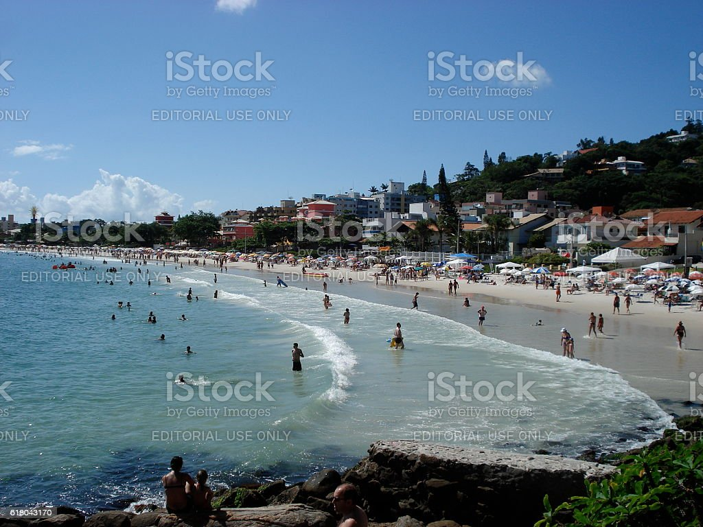 Beach of Brazilian Tourists Beach on Santa Catarina Island stock photo