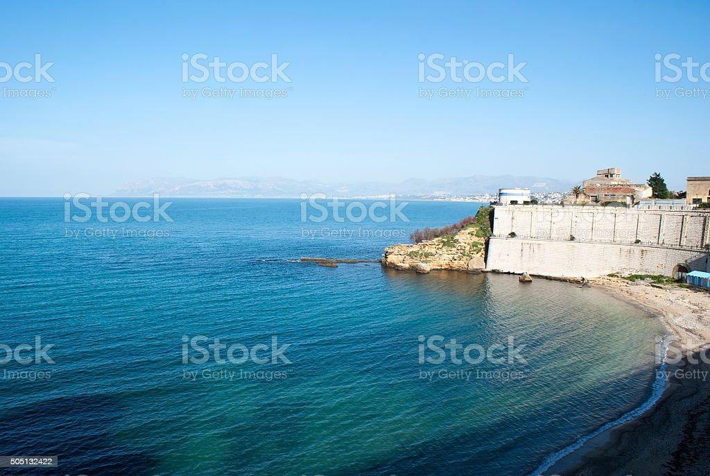 Beach of Castellammare del Golfo stock photo