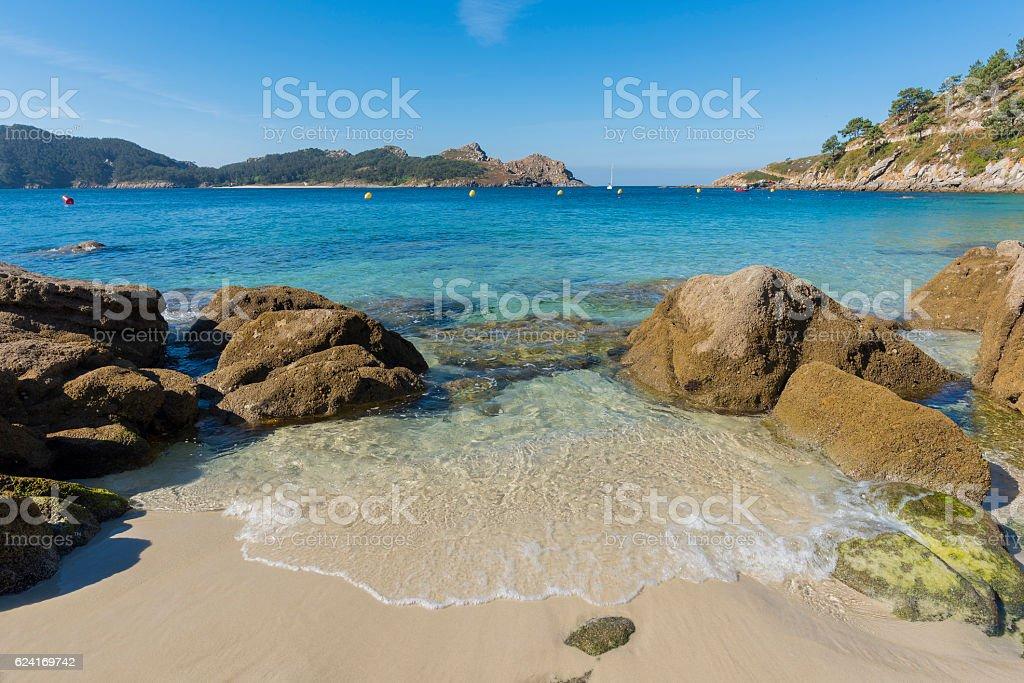 Beach of Cies Islands. stock photo
