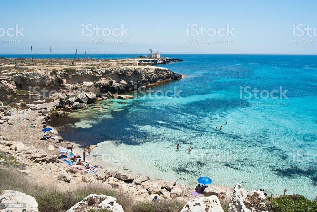beach of favignana. aegadian island stock photo