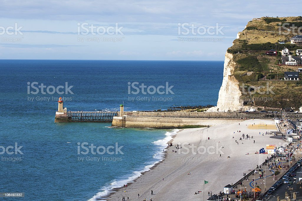 Beach of Fecamp, France stock photo
