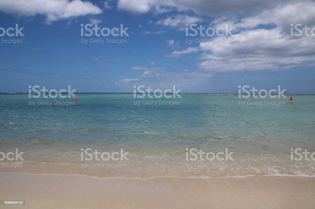 Beach of Flic en Flac, Mauritius, Indian Ocean, Africa stock photo